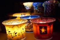 Votiv Leuchtgläser - farbenfrohe Leuchtgläser für Teelichte