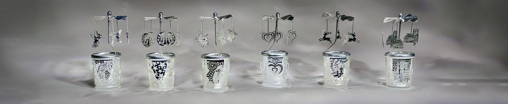 Glas Karussell Windlichter