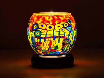 Leuchtglas Lampe 11cm Nr.292 stilisierte Stadt mit Wald, elektrisch betrieben - 1