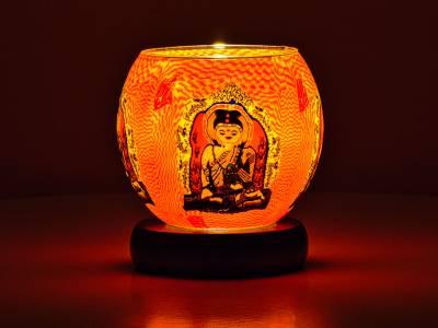 Leuchtglas Lampe 11cm Nr.309 Buddha, elektrisch betrieben - 1