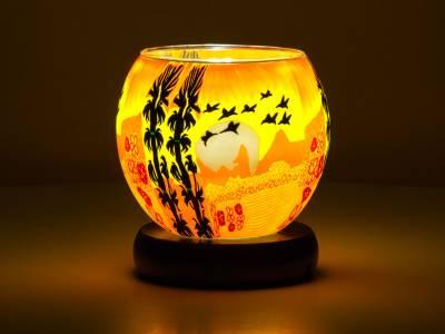 Leuchtglas Lampe 11cm Nr.354 Vögel im Sonnenuntergang, elektrisch betrieben - 1