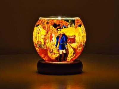 Leuchtglas Lampe 11cm Nr.535 König Ludwig von Bayern, elektrisch betrieben - 1