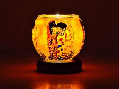 Leuchtglas Lampe 11cm Nr.583 Klimt der Kuss, elektrisch betrieben - 1