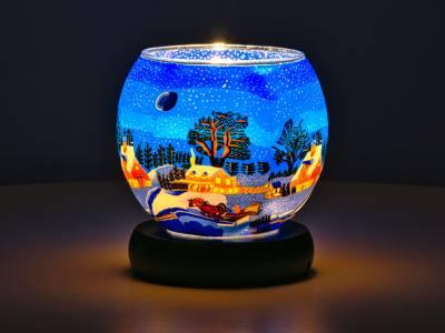 Leuchtglas Lampe 11cm Nr.829 kanadische Winterlandschaft, elektrisch betrieben - 1
