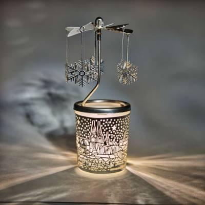 Glas-Karussell-Windlicht silber Weihnachtsmarkt Christmas Market - 1
