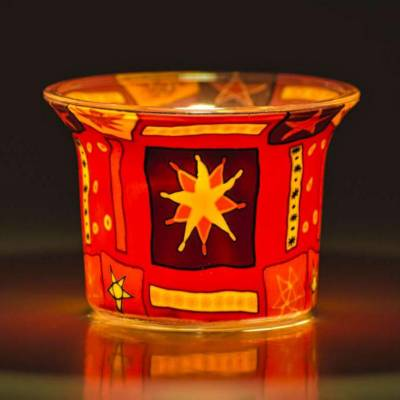 Votiv-Glas 75 - Sterne, rot, orange - 1