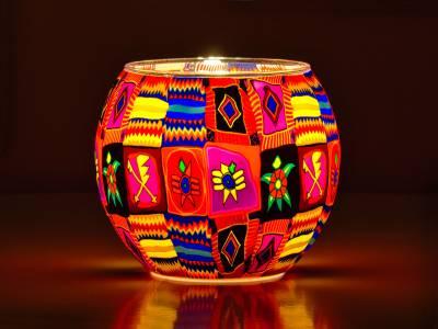 Leuchtglas 11cm Nr.12. Patchwork, farbenfrohe Motive - 1