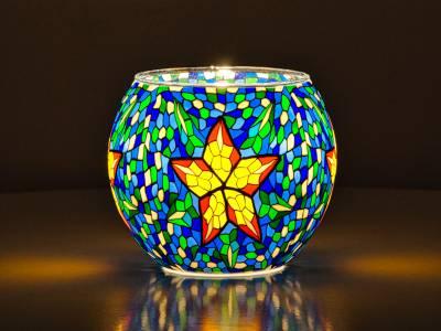 Leuchtglas 11cm Nr.39 Stern auf blaugrünem Mosaik - 1