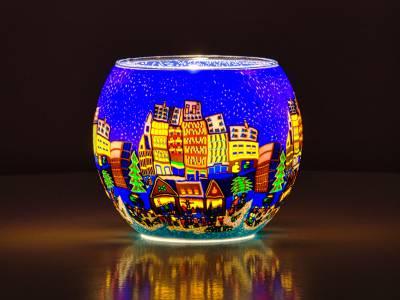Leuchtglas 11cm Nr.44 abendlicher Weihnachtsmarktbesuch - 1