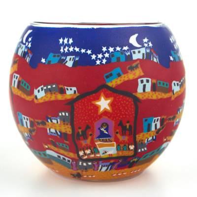 Leuchtglas 11cm Nr.48 Krippe zu Weihnachten - 1