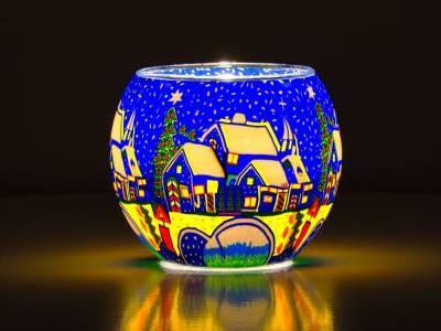 Leuchtglas 11cm Nr.49 Schnee in der Stadt - 1