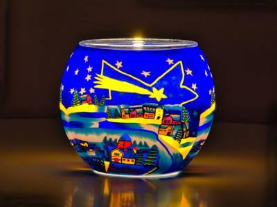 Leuchtglas 11cm Nr.66 Sternschnuppe über Winterdorf - 1