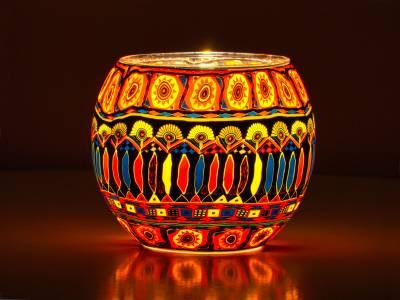 Leuchtglas 11cm Nr.90 Kerzenmotiv im Bohochic - 1