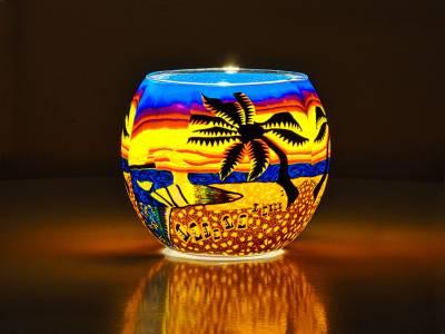 Leuchtglas 11cm Nr.103 Palme / Strand - 1