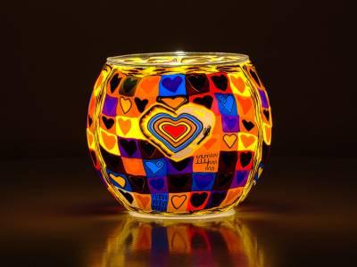 Leuchtglas 11cm Nr.152 Herz bunt - 1