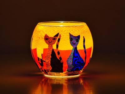 Leuchtglas 11cm Nr.210 Katzenpaar, bunt - 1