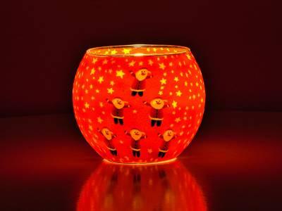 Leuchtglas 11cm Nr.341 - 6 fröhliche Weihnachtsmänner - 1