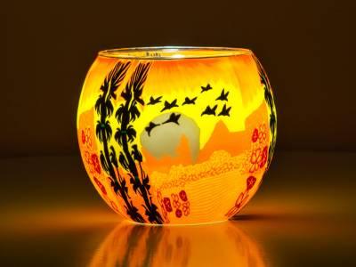 Leuchtglas 11cm Nr.354 Vögel im Sonnenuntergang - 1