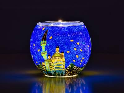 Leuchtglas 11cm Nr.383 Neuschwanstein bei Nacht - 1