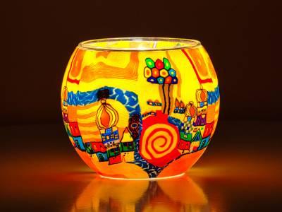 Leuchtglas 11cm Nr.456 Stadt am Fluss Hundertwasserähnlich - 1