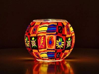 Leuchtglas Nr.12 15cm Patchwork, farbenfrohe Motive - 1