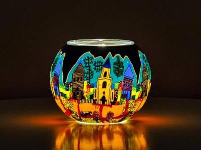 Leuchtglas 15cm Nr.37 Kirchenbesuch am Sonntag - 1