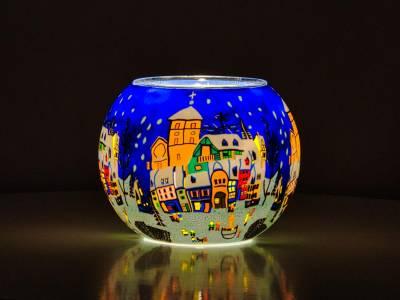 Leuchtglas 15cm Nr.68 verschneiter Marktplatz - 1