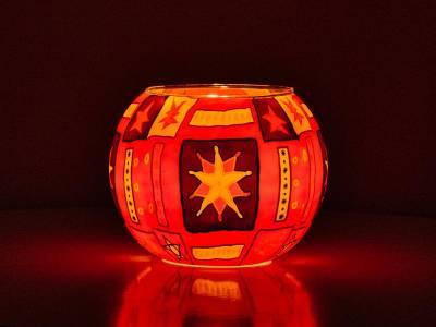 Leuchtglas 15cm Nr.75 Sterne, rot, orange - 1