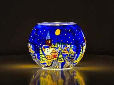 Leuchtglas 15cm Nr.175 Winter in den Bergen - 1