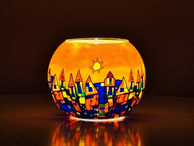 Leuchtglas 15cm Nr.182 Stadt im Sommer - 1