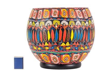 Gigant 90 Kerzenmotiv im Bohochic, Leuchtglas elektrisch betrieben, Durchmesser 30cm - 1