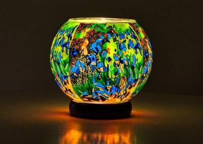Leuchtglas Lampe 15cm Nr.93 Flowerpower in grün - 1
