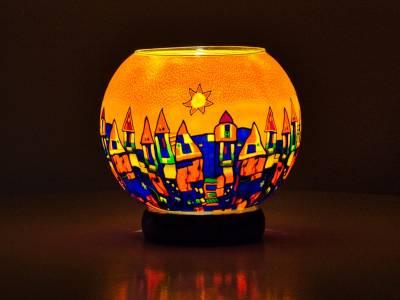 Leuchtglas Lampe 15cm Nr.182 Stadt im Sommer, elektrisch betrieben - 1