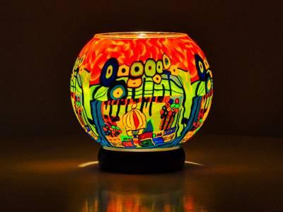 Leuchtglas Lampe 15cm Nr.292 stilisierte Stadt mit Wald, elektrisch betrieben - 1