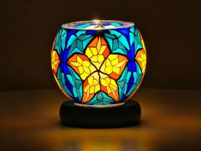Leuchtglas Lampe 11cm Nr.24 Stern blau, elektrisch betrieben - 1