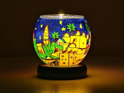 Leuchtglas Lampe 11cm Nr.40 Stadt orientalisch, elektrisch betrieben - 1