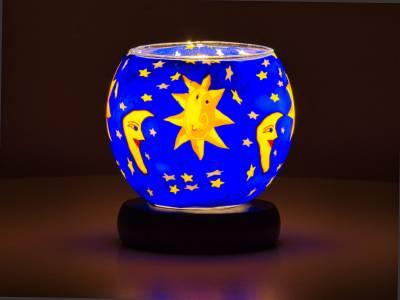 Leuchtglas Lampe 11cm Nr.41 Sonne, Mond und Sterne, elektrisch betrieben - 1