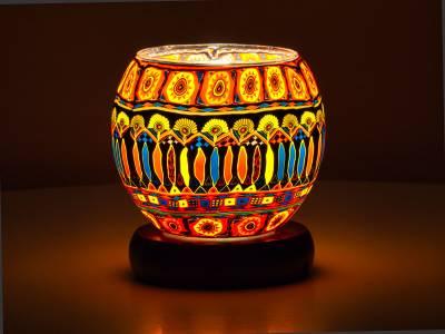 Leuchtglas Lampe 11cm Nr.90 Bohochic, elektrisch betrieben - 1