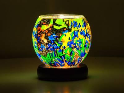 Leuchtglas Lampe 11cm Nr.93 Fowerpower in grün, elektrisch betrieben - 1