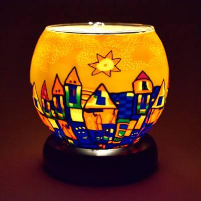 Leuchtglas Lampe 11cm Nr.182 Stadt im Sommer, elektrisch betrieben - 1