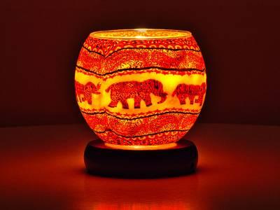 Leuchtglas Lampe 11cm Nr.211 Elefantenherde Orange-Rottöne, elektrisch betriebden - 1