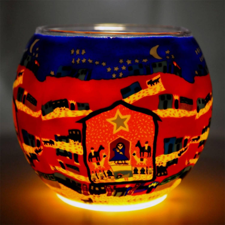Leuchtglas Nr.48, wunderschönes Windlicht, Teelicht Leuchtglas 11cm ...