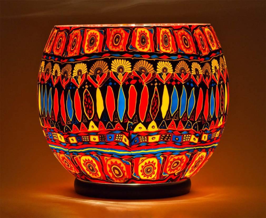Gigant 90 Kerzenmotiv im Bohochic, Leuchtglas elektrisch betrieben, Durchmesser 30cm - 2