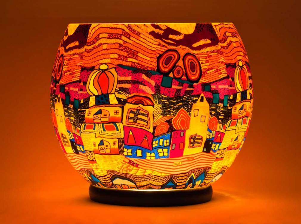 Gigant Nr.455 surrealistische Stadt, Leuchtglas elektrisch betrieben, Durchmesser 30cm - 2